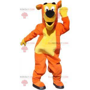 Orange und gelbes Riesenhundemaskottchen. Hundekostüm -