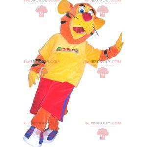 Maskot tygr oblečený ve sportovním oblečení. Tygří kostým -