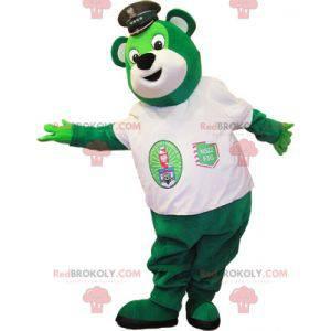 Zelený medvěd maskot s policejní čepicí - Redbrokoly.com