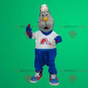 Blue cat mascot - Redbrokoly.com