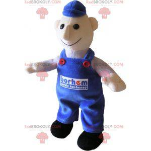 Snowman mascot dressed in blue overalls. Mechanic -