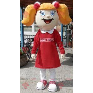 Maskot blondýnka s přikrývkami a šaty - Redbrokoly.com