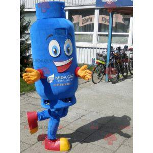 Smiling blue gas cylinder mascot - Redbrokoly.com