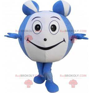 Modré a bílé kulaté sněhulák maskot. Obří míč - Redbrokoly.com