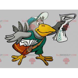 Maskot obří šedý a žlutý pták s taškou - Redbrokoly.com