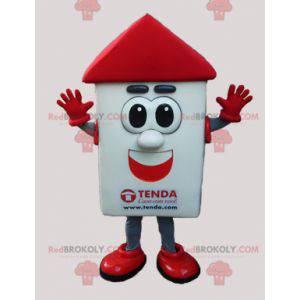 Hvit og rød husmaskot med store øyne - Redbrokoly.com