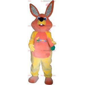 Růžový a žlutý plyšový králík maskot - Redbrokoly.com