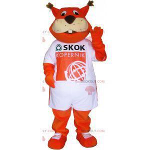 Orange Fuchs Maskottchen, das ein T-Shirt trägt - Redbrokoly.com