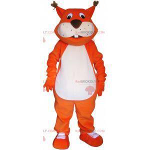 Maskot obří oranžová liška s velkým ocasem - Redbrokoly.com