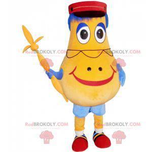 Żółta maskotka bałwana w kształcie gruszki z czapką -