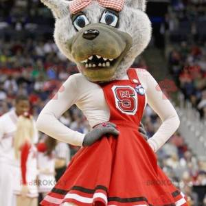 Gray wolf mascot with a red dress - Redbrokoly.com