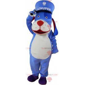 Modré a bílé psí maskot s kepi - Redbrokoly.com