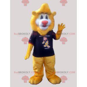 Big soft yellow lion mascot with a t-shirt - Redbrokoly.com