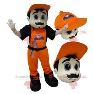 Mascot man in overalls and orange cap. - Redbrokoly.com