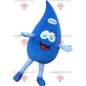 Obří a usměvavý modrý kapka vody maskot - Redbrokoly.com