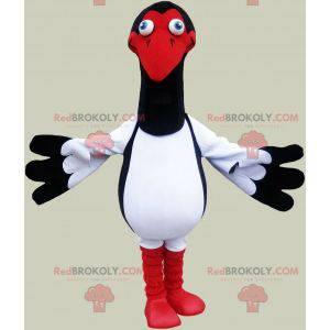 Černá a červená bílá racek maskot. Ptačí kostým - Redbrokoly.com