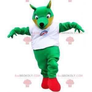 Velký zelený liščí maskot s bílým tričkem - Redbrokoly.com