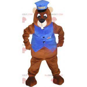 Gigantyczna brązowa maskotka bobra z kepi i kamizelką -