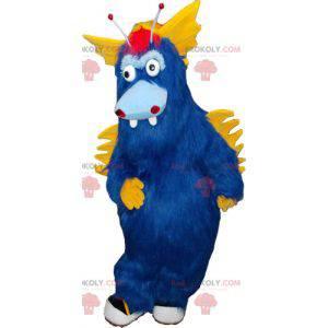 Stor furry blå og gul monster maskot - Redbrokoly.com