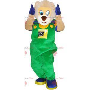 Maskot medvídek v montérkách a barevném oblečení -