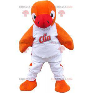 Orange Pinguin Maskottchen im weißen Outfit - Redbrokoly.com