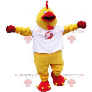 Giant yellow and red rooster mascot with a white t-shirt -