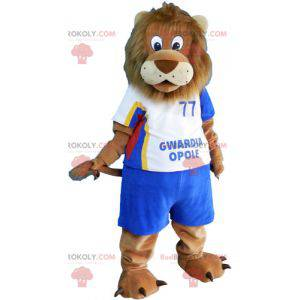Velký hnědý lev maskot ve sportovním oblečení - Redbrokoly.com
