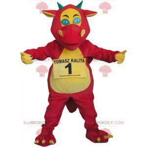 Riesiges Drachenmaskottchen rot gelb und grün - Redbrokoly.com