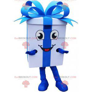 Kjempemaskot med gaveinnpakning med et ganske blått bånd -