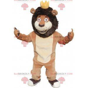 Hnědý a béžový maskot lva s korunou - Redbrokoly.com