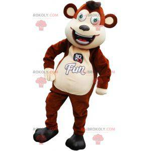 Legrační hnědé a béžové opice maskot - Redbrokoly.com