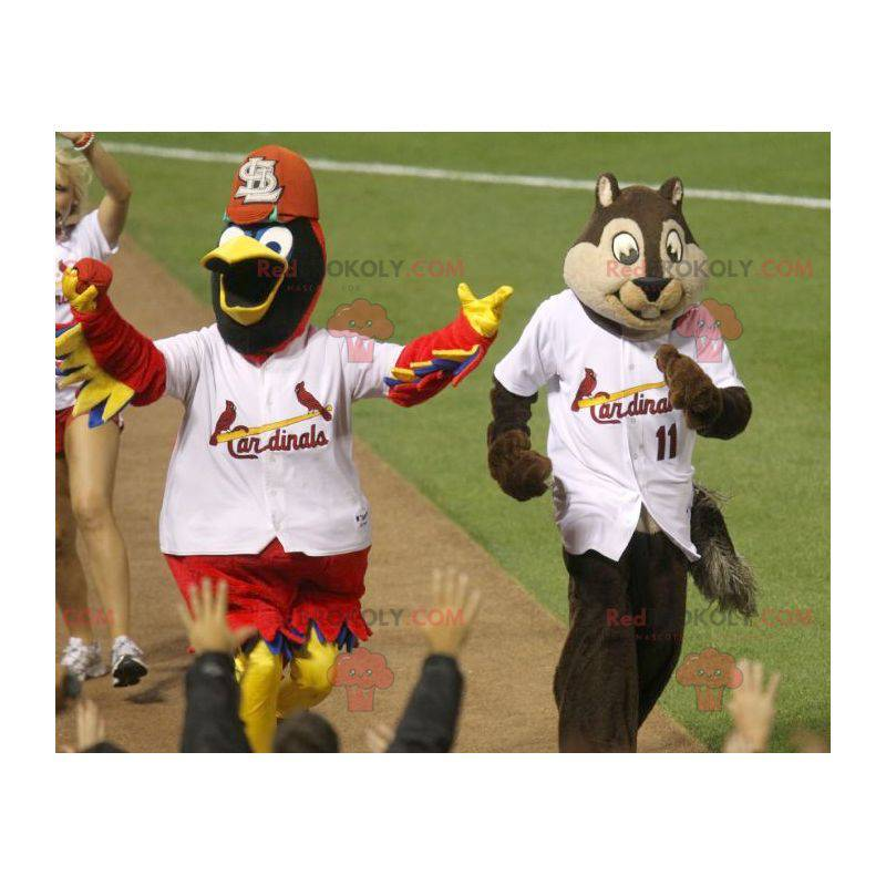 Mascot fargerik fugl og brun og beige ekorn - Redbrokoly.com