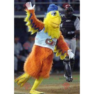 Oransje gul og blå fuglemaskot - Redbrokoly.com