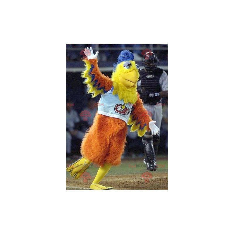 Pomarańczowy żółty i niebieski ptak maskotka - Redbrokoly.com