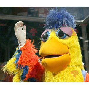 Orange yellow and blue bird mascot - Redbrokoly.com