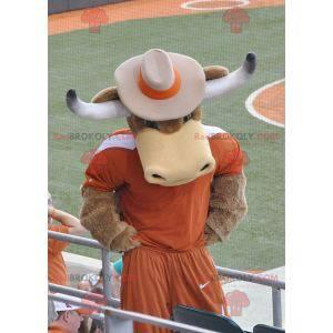 Brown Cow Bull Maskottchen mit Hörnern - Redbrokoly.com