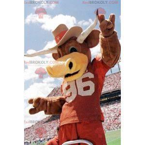 Hnědý kráva býk maskot s rohy - Redbrokoly.com