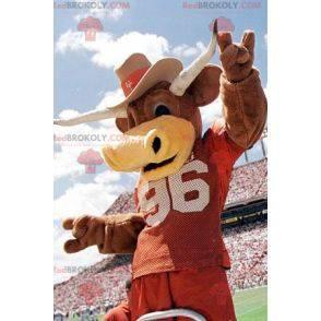 Brown cow bull mascot with horns - Redbrokoly.com