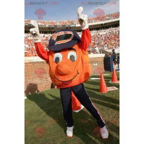Orange basketball mascot with a cap - Redbrokoly.com