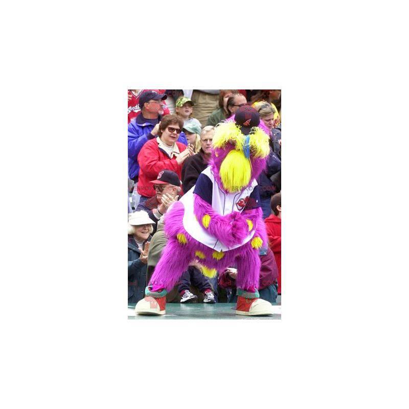 Alles haarige gelbe und rosa Vogelmaskottchen - Redbrokoly.com