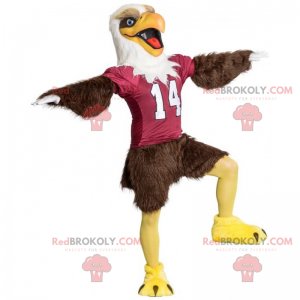 Brown eagle mascot with American football jersey -