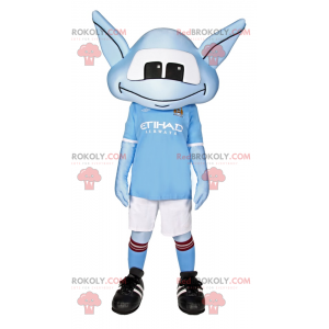 Blue Alien mascot with long ears and soccer outfit -