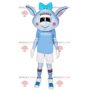 Blue Alien mascot with blue bow and soccer outfit -