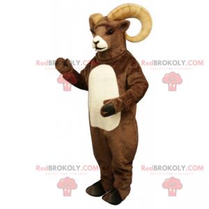 Mascotte boerderijdier - Ram met grote hoorns - Redbrokoly.com