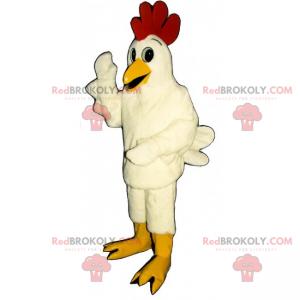 Farm maskot - Hvit høne - Redbrokoly.com