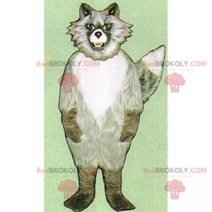 Graues Wolfsmaskottchen mit einem unheimlichen Blick -
