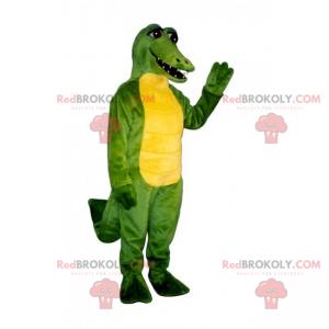 Maskot zvířat v džungli - zelený a žlutý krokodýl -