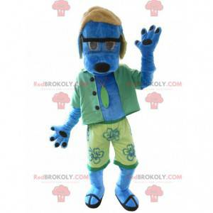 Maskot modrý pes oblečený v zelené barvě - Redbrokoly.com