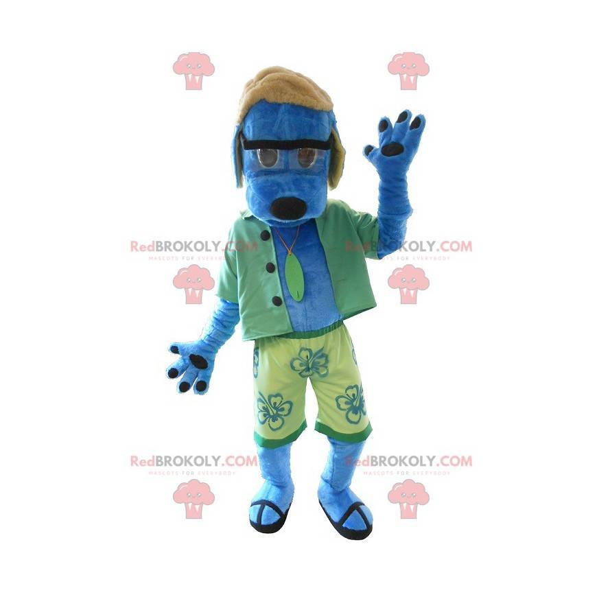 Maskotka niebieski pies ubrany na zielono - Redbrokoly.com