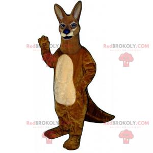 Maskotka dzikiego zwierzęcia - brązowy kangur z niebieskim